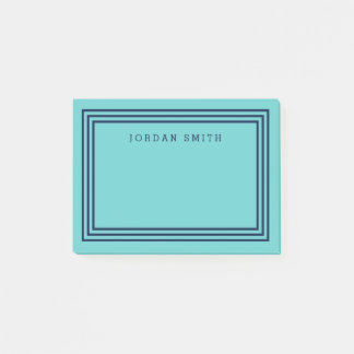 Modern Aqua Teal with Triple Navy Blue Borders Post-it Notes