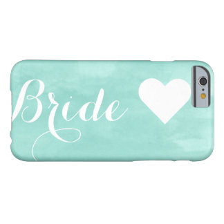Modern aqua watercolor custom bride monogram barely there iPhone 6 case