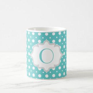 Modern aqua, white polka dot pattern monogram coffee mug