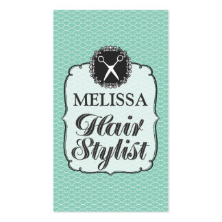 Modern Aqua White Professional Hair Stylist Cards Pack Of Standard Business Cards