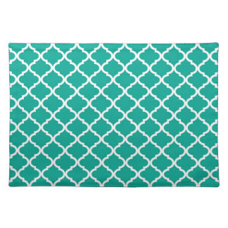 Modern Arcadia Teal Moraccan Quatrefoil Pattern Placemat
