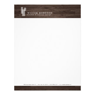 Modern Architectural Logo on Dark Woodgrain Customized Letterhead