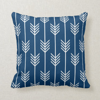 Modern Arrow Fletching Pattern Navy Blue Throw Pillow