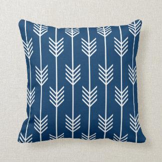 Modern Arrow Fletching Pattern Navy Blue Throw Pillow