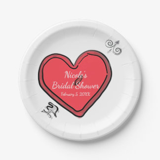 Modern Arrow & Heart Valentines Chic Custom Party Paper Plate
