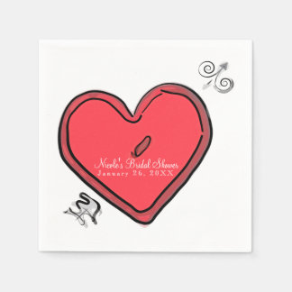 Modern Arrow & Heart Valentines Custom Chic Party Disposable Napkin