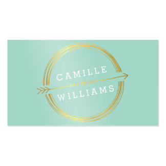 MODERN ARROW LOGO gold foil rustic hand drawn mint Double-Sided Standard Business Cards (Pack Of 100)