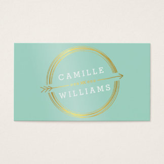 MODERN ARROW LOGO gold foil rustic hand drawn mint Business Card