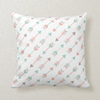 Modern Arrows Pillow in mint and coral