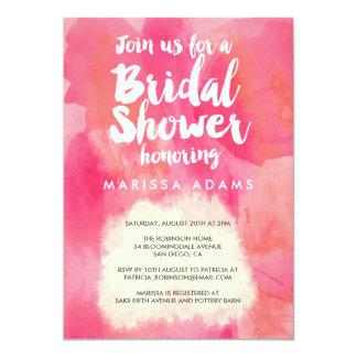 "Modern Art Bridal Shower Pink 5"" X 7"" Invitation Card"
