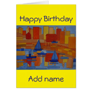 Modern art cubism birthday card add name front
