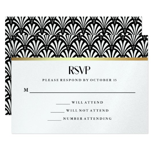 Modern Art Deco | Black and White Wedding RSVP Card