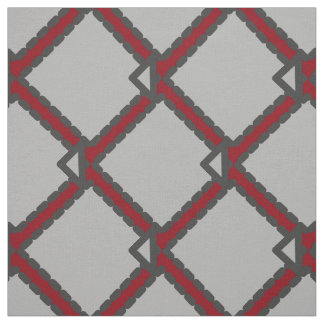 Modern Art Deco Black, Gray, and Red Fabric
