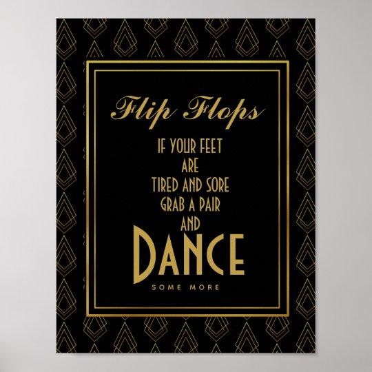 Modern art deco Gold & Black flip flops Poster