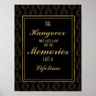 Modern art deco Gold & Black hangover party Poster