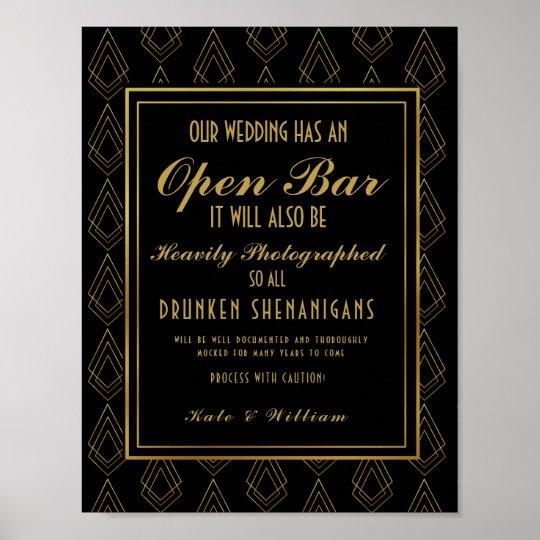 Modern art deco Gold & Black Open Bar Poster