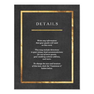 Modern Art Deco Gold & Black Wedding Insert Cards