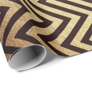 Modern Art Deco Golden Chevron Maroon Burgundy Wrapping Paper