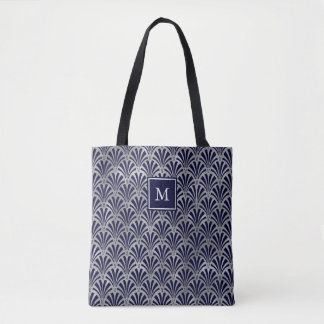 Modern Art Deco | Navy and Faux Silver Monogram Tote Bag