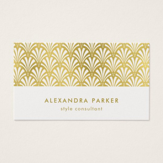 Modern Art Deco Pattern | Faux Gold on White Business Card