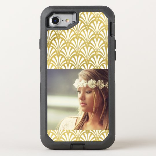 Modern Art Deco Pattern   Faux Gold with Photo OtterBox Defender iPhone 8/7 Case