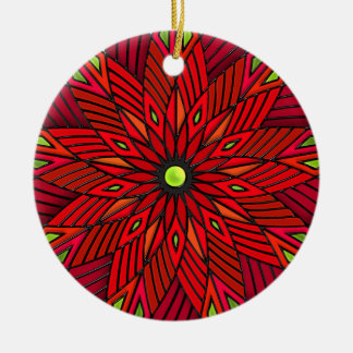 Modern Art Deco Poinsettia - Round (Personalized) Ceramic Ornament