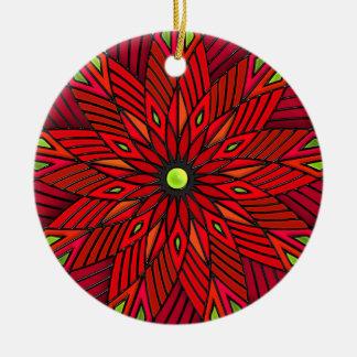 Modern Art Deco Poinsettia - Round (Personalized) Round Ceramic Ornament