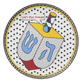 Modern Art Dreidel Gone Dotty (Personalized) Plate