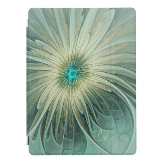 Modern Art Fantasy Flower Turquoise Wheat Monogram iPad Pro Cover