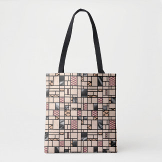 Modern Art Fishnets and Leather Pattern Tote Bag