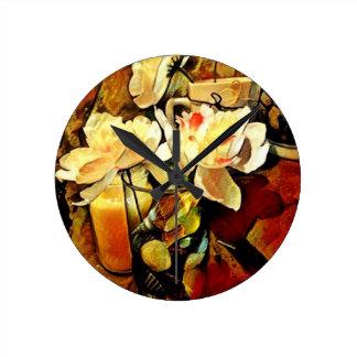 Modern Art Floral Round Clock