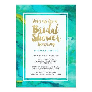 "Modern Art Gold Blue Bridal Shower 5"" X 7"" Invitation Card"