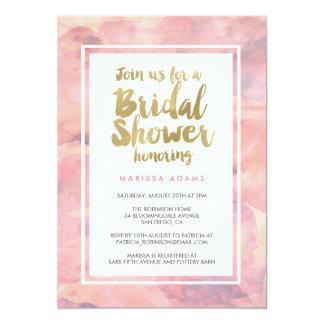 "Modern Art Gold Blush Bridal Shower 5"" X 7"" Invitation Card"