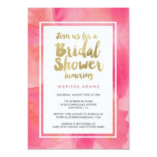 "Modern Art Gold Pink Bridal Shower 5"" X 7"" Invitation Card"