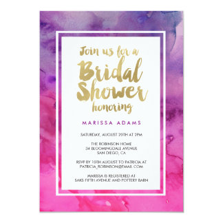 "Modern Art Gold Purple Bridal Shower 5"" X 7"" Invitation Card"