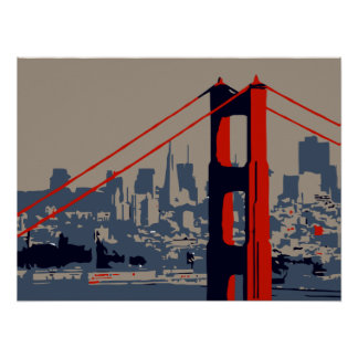 Modern art: Golden Gate Bridge and skyline Poster