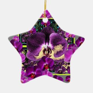 Modern Art Grey-Purple Pink  Orchids Art gifts Ceramic Star Ornament