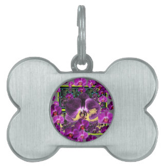 Modern Art Grey-Purple Pink  Orchids Art gifts Pet Tag