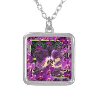 Modern Art Grey-Purple Pink  Orchids Art gifts Silver Plated Necklace