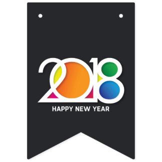 Modern  Art New Year's Party Celebration. Bunting Flags