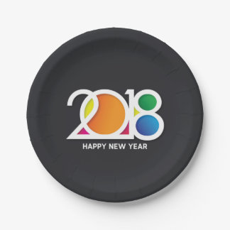 Modern  Art New Year's Party Celebration. Paper Plate