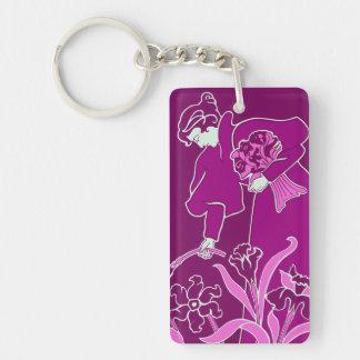 Modern Art Nouveau, woman picking flowers 2 Acrylic Keychains