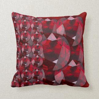 MODERN ART RED GARNET GEMS JANUARY BIRTHSTONE THROW PILLOW