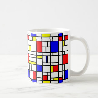 Modern Art Red Yellow Blue Grid Pattern Coffee Mug