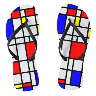Modern Art Red Yellow Blue Grid Pattern Flip Flops