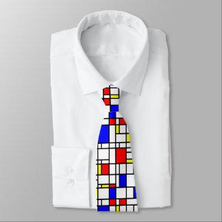 Modern Art Red Yellow Blue Grid Pattern Neck Tie