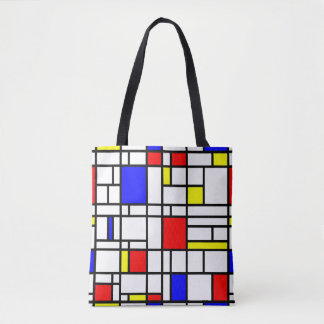 Modern Art Red Yellow Blue Grid Pattern Tote Bag