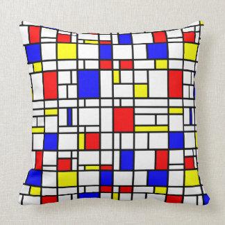 Modern Art Red Yellow Blue Pattern Throw Pillow
