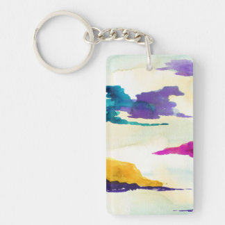Modern Art Watercolour Painting Key Chain