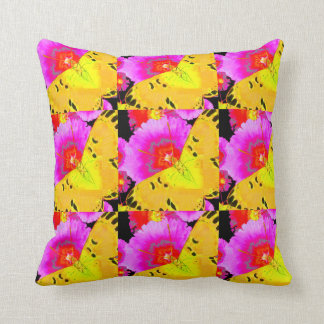 MODERN ART YELLOW BUTTERFLIES & FUCHSIA PINK FLORA THROW PILLOW